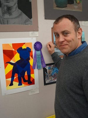 """Rep. Gordon Hintz chose """"Colorful Canis."""" Artist is Nora S. from Lourdes Academy."""