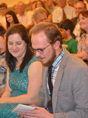 Reporters Nick Coltrain and Sarah Jane Kyle accepted awards at the Society of Professional Journalists' Top of the Rockies contest at the Denver Press Club on Friday, April 14, 2017.