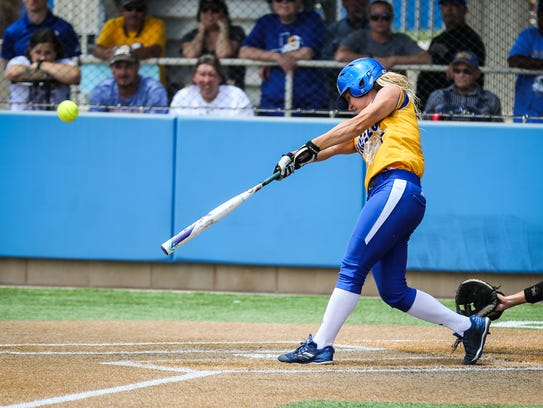 Angelo State's Danae Bina scored the game's only run in a 1-0 win over West Chester at the NCAA D-II College World Series on Thursday.