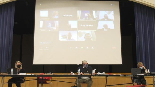 The Coldwater school board met Monday both in person at the high school cafeteria and virtually.