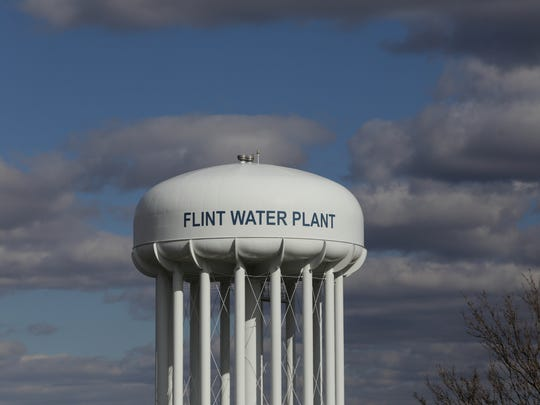 The water tower of the Flint Water Treatment Plant is seen on March 21, 2016.
