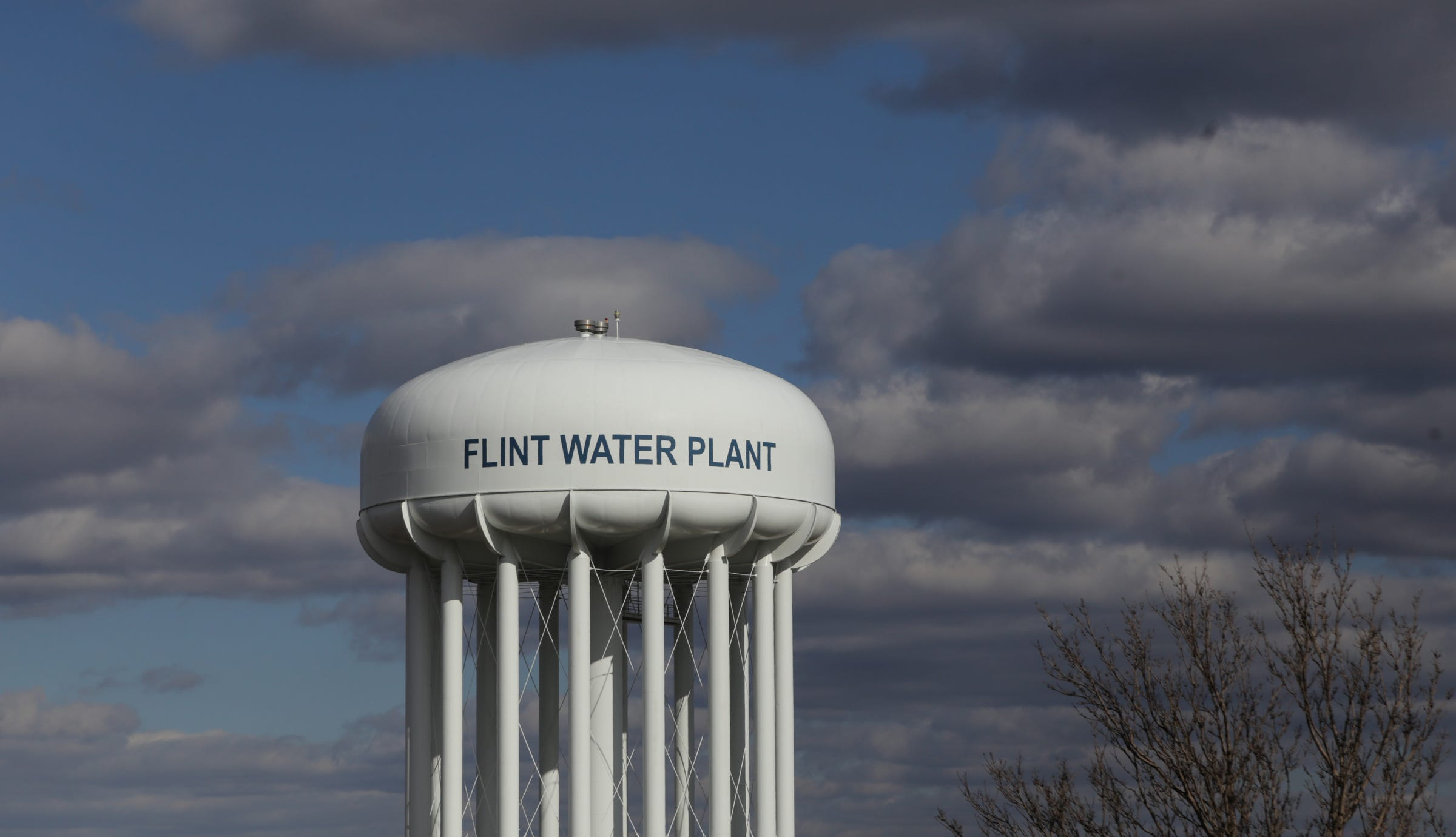 The Water Tower Of The Flint Water Treatment Plant