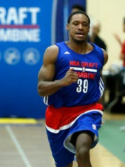 Demetrius Jackson, from Notre Dame, participates in the NBA draft basketball combine, Thursday, May 12, 2016, in Chicago.