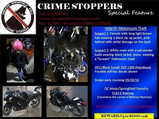 Police say a man and woman stole a motorcycle last month in northeast Springfield.