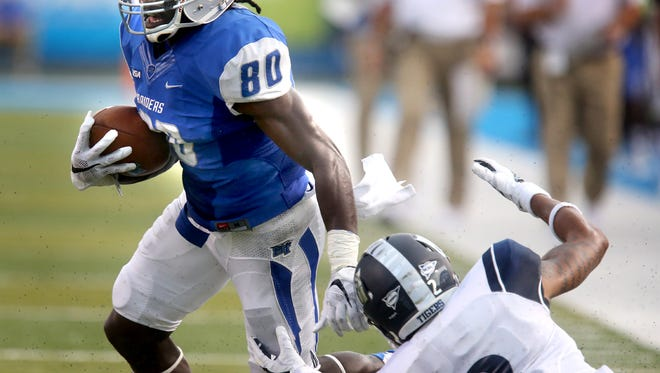 MTSU's Ed Batties (80) set a career high for receiving yards the last time he suited up in Floyd Stadium.