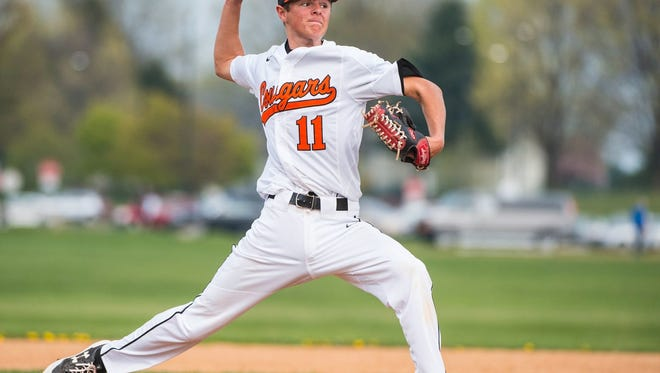 Brian Coburn, shown here for Palmyra Area High School during the spring, tossed a 99-pitch complete game to help Campbelltown to a 10-3 win over Dallastown in the Region 4 tournament on Sunday.
