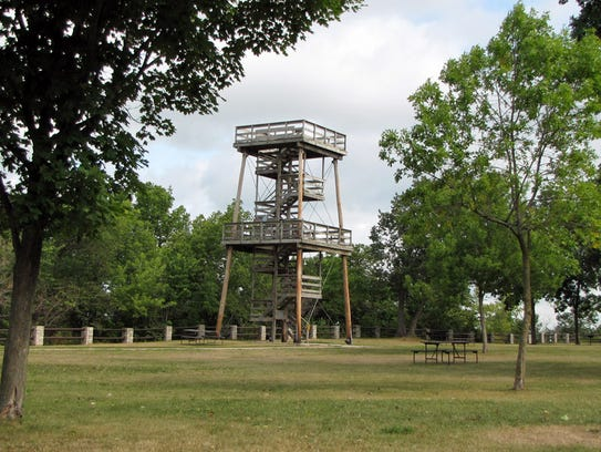 A 40 foot observation tower built on top of the cliffs