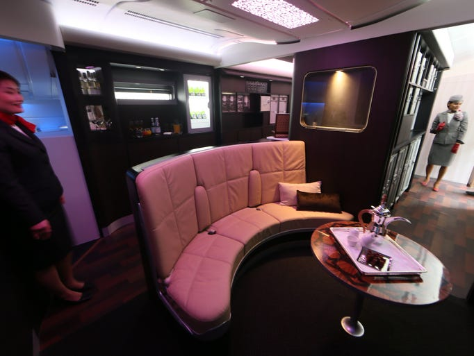 A picture taken on May 4, 2014 in Abu Dhabi shows the Lobby of the new A380 aircraft of Etihad Airways.