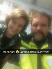 Firefighter Kenny Thompson took a selfie with Ann Bybee-Finley
