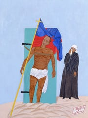 """The Crucifixion of Charlemagne Péralte for Freedom"" by Philomé Obin  is on view in the Haitian gallery in the Milwaukee Art Museum."