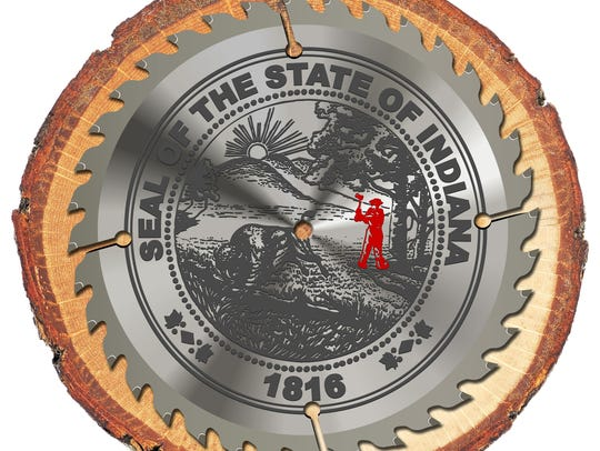 Photo illustration of Indiana's state seal.