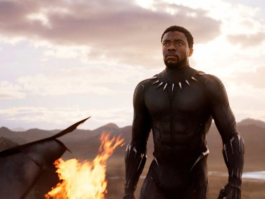 "Chadwick Boseman stars in ""Black Panther,"" in theaters on Feb. 16."