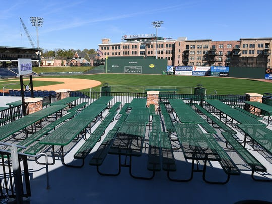 500 Club patio at Fluor Field.