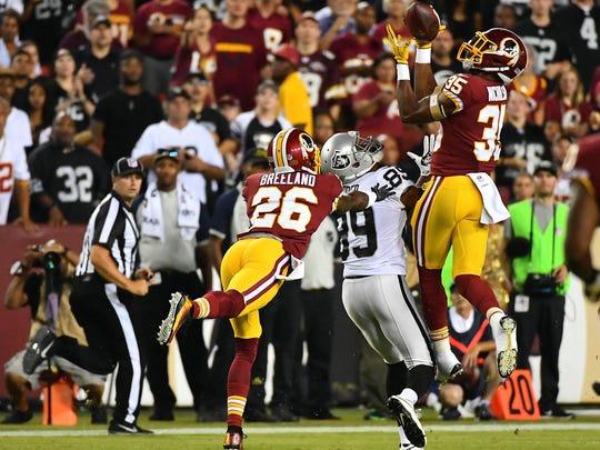 Washington Redskins safety Montae Nicholson intercepts