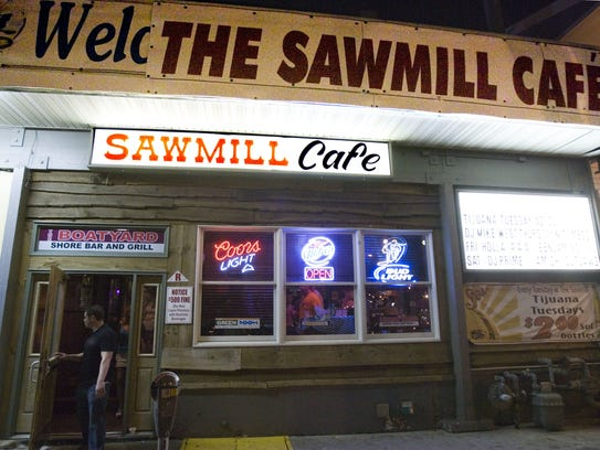 The exterior of the Sawmill Cafe is shown in this file