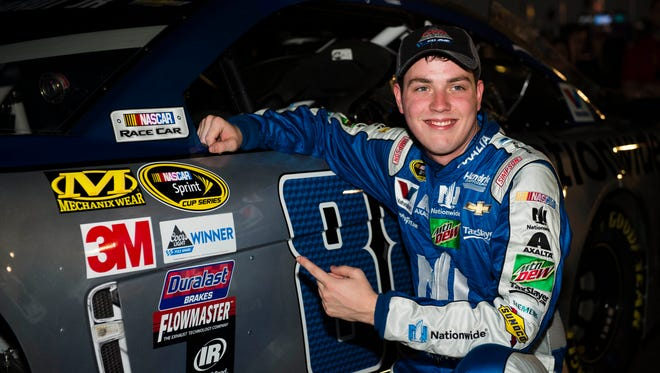 Alex Bowman celebrates after winning his first career NASCAR Cup Series pole, Nov. 11 at Phoenix International Raceway.