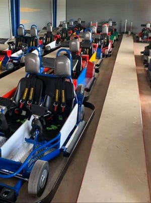 Twenty-one go-karts are parked and waiting for the grand opening of The Clubhouse later this summer. The family fun center will have 14 single rider karts and seven for double riders.