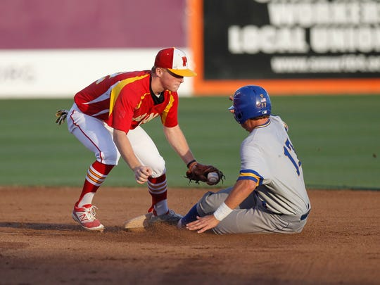 Palma's Dominic Scattini tags out Serra's Jack Petersen