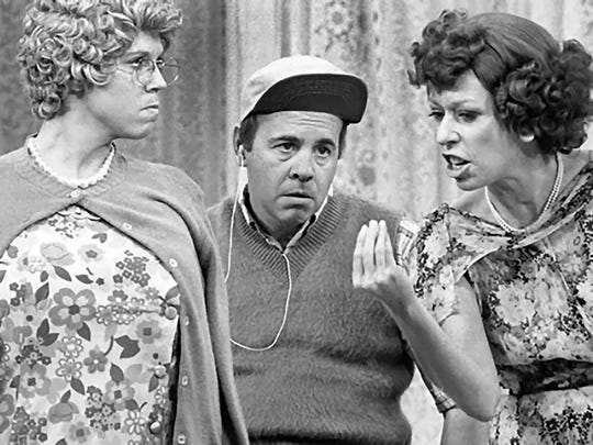 """On """"The Carol Burnett Show,"""" the sketches featuring the character of Eunice Higgins (Burnett, right) were arguably the show's most memorable. Vicki Lawrence plays Thelma Harper and Tim Conway is Mickey Hart."""
