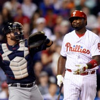 Ryan Howard reacts after he striking out earlier this month.