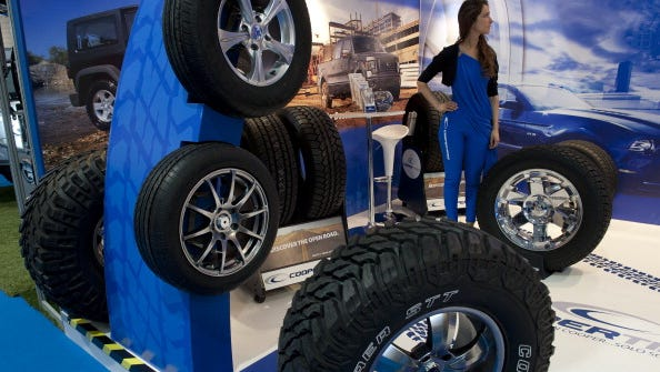 Cooper tires on display Oct. 4 during the opening day of the Motor Show at the Espacio Riesco exhibition center in Santiago, Chile.