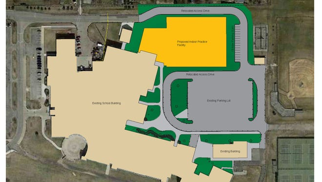 Construction on the new indoor practice facility, seen in yellow, will start in August.