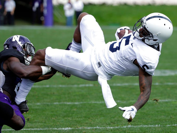 Penn State wide receiver DaeSean Hamilton, right, is