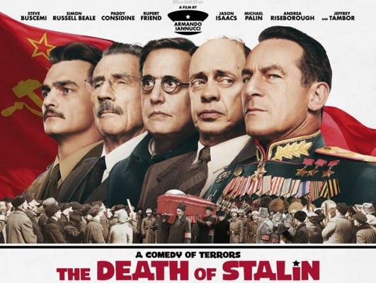 "Join the Asheville Movie Guys for a movie screening of ""The Death of Stalin"" at the Fine Arts Theatre, March 26 at 7:00 pm."