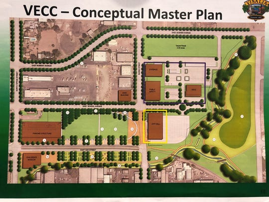 A conceptual plan of what the area near the Visalia Emergency Communication Center could look like in east downtown Visalia.