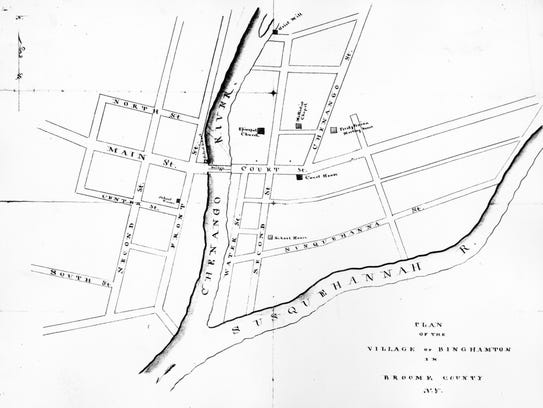 An 1825 map of Binghamton showing the location of the