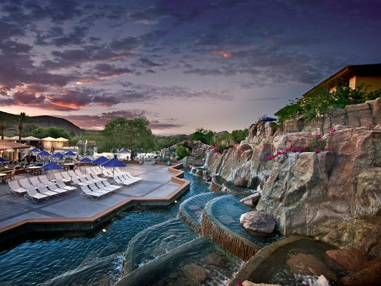 The waterfall at the pool area of Pointe Hilton Tapatio Cliffs in Phoenix.