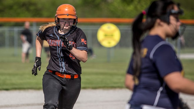 Marine City's Elisabeth Westrick runs for third during a softball game Tuesday, May 16, 2017 at Marine City High School.
