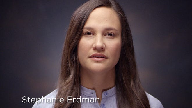 This photo provided by Honda shows Stephanie Erdman in a video targeting Honda owners who have yet to get free repairs under the massive Takata recalls. Erdman, an Air Force officer, nearly lost her right eye when the inflator in her 2002 Civic exploded into pieces in a crash in 2013. Now, she is helping Honda's effort to persuade car owners to get the dangerous parts replaced. (Courtesy of Honda via AP)