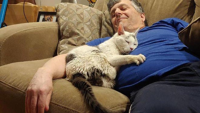 Michael the cat practices what he preaches: Nap well and cuddle often with a loved one.