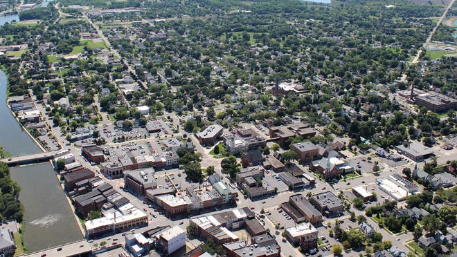 An aerial view of downtown Monroe is pictured. A new branding campaign, titled Michigan's Cornerstone, has been unveiled.
