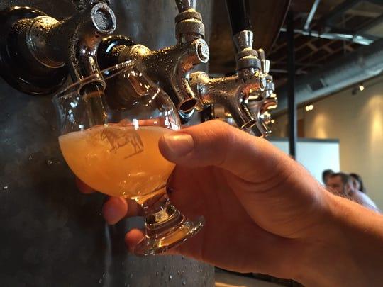 Beer on tap at Ponysaurus Brewing Co. in Durham, N.C.