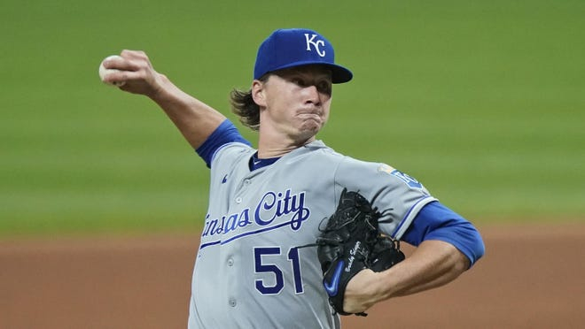 Kansas City Royals starting pitcher Brady Singer delivers in the seventh inning of a baseball game against the Cleveland Indians, Thursday, Sept. 10, 2020, in Cleveland.