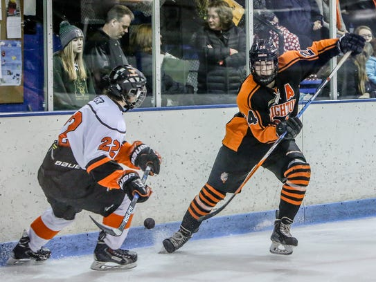 Brighton's Jake Crespi (right), who had three goals,