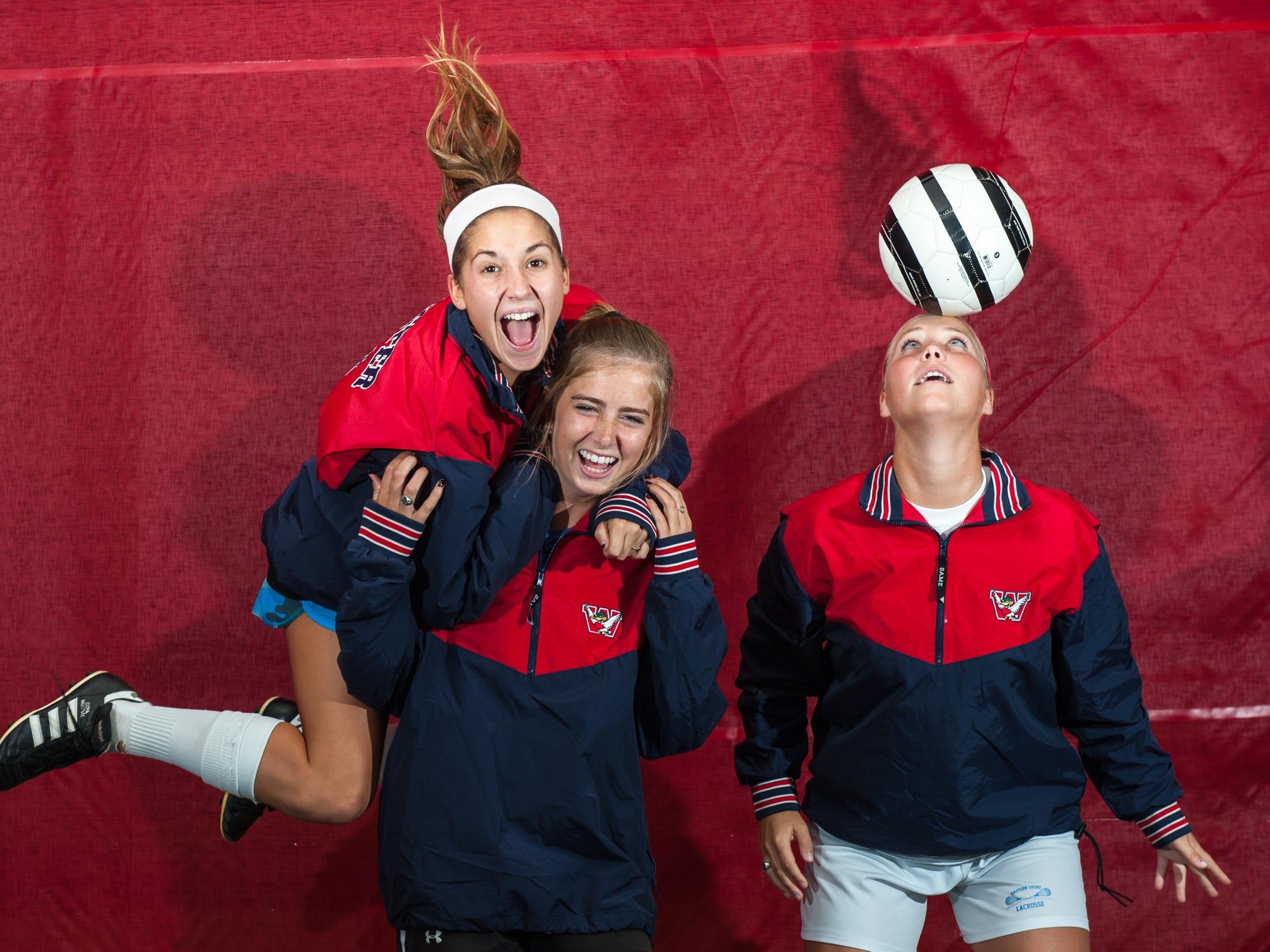 Worcester Prep girls soccer captains Julia D'Antonio, Regan Shanahan and Grace Tunis have the Mallards 4-0 to start the season.
