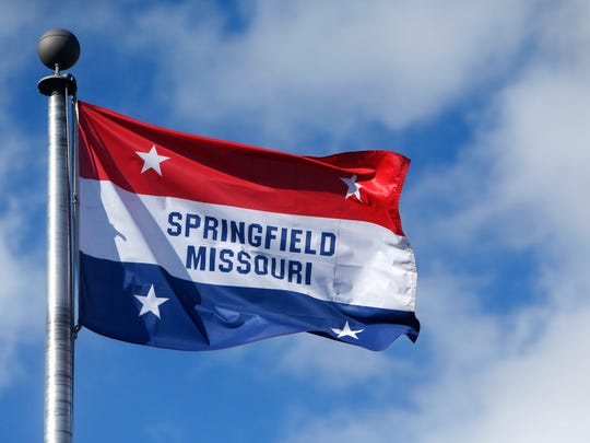 The Springfield flag flies in Park Central Square.