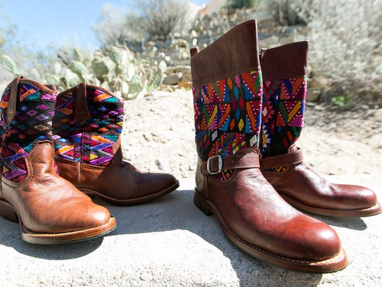 Pictured are Guatemalan-styled leather boots on display