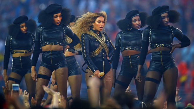 Recording artist Beyonce performs at halftime with dancers in Super Bowl 50 between the Carolina Panthers and the Denver Broncos at Levi's Stadium on Feb. 7, 2016.