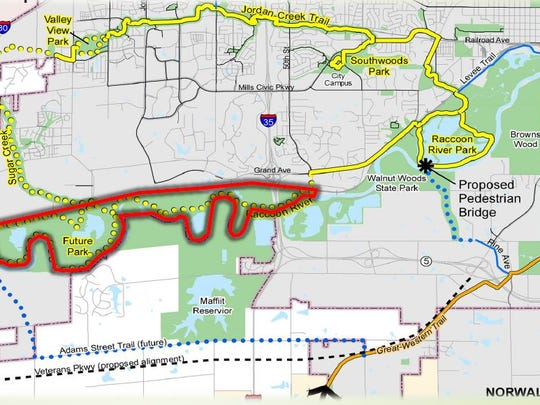 A new greenway surrounding the Raccoon River could be home to an adventure park with a zip line or tree canopy walk and tiny homes to rent.