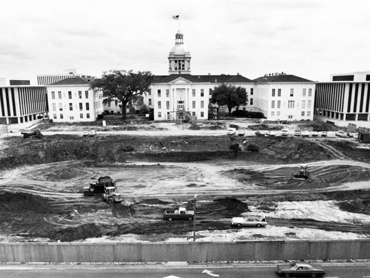 Looking east at the land being cleared between Duval and Adams Street in 1973 to begin construction of the new 22-story capitol. One-time plans were scrapped to build a tunnel under the new capitol to allow Adams Street to remain a north-south throughway.