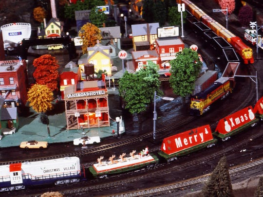 A close-up of one of the train exhibits at Koziar's Christmas Village.