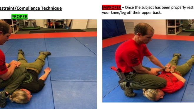 A Volusia County Sheriff's Office training bulletin demonstrates the difference between a proper and improper restraint.