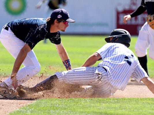 Louisiana Elite Yankees' Hunter Stanley tags a runner out at second Tuesday in Game 13 of the Connie Mack World Series against the Bayside Yankees at Ricketts Park in Farmington.
