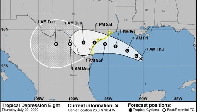 New tropical storm warnings have been issued for a portion of the Texas coast from Port Mansfield to San Luis Pass.