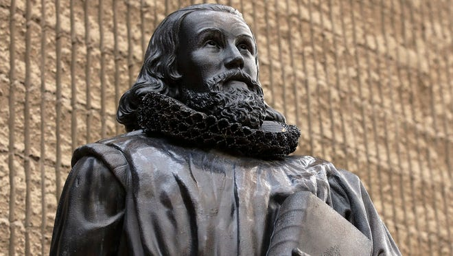 A 19th Century bronze statue of Puritan John Winthrop.