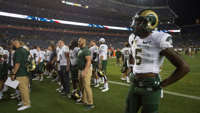CSU wide receiver Marvin Kinsey stands alone after a 17-3 loss to CU during the Rocky Mountain Showdown at Sports Authority Field at Mile High in Denver on Friday, September 1, 2017.